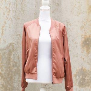 Mural Pink Sheen Bomber Jacket